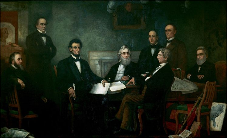 'First Reading of the Emancipation Proclamation of President Lincoln' on July 22, 1862 by Francis Bicknell Carpenter